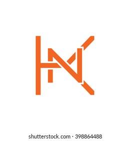 letter K and N monogram logo orange