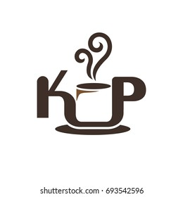 letter K and P. cup of coffee vector logo.