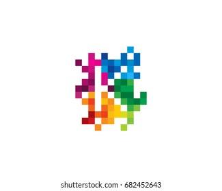 Letter K Pixel Color Mosaic Icon Logo Design Element