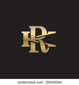 letter K and R monogram golden logo