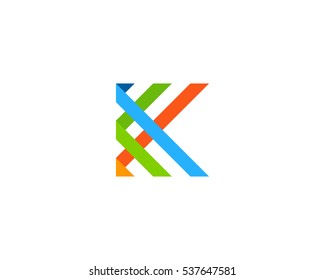 Letter K Ribbon Logo Design Template Element
