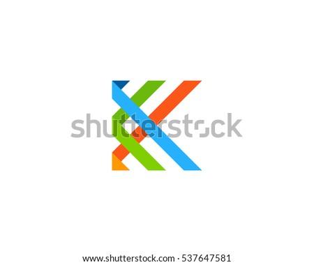 letter k ribbon logo design template のベクター画像素材
