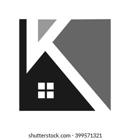 letter K and roof logo vector.