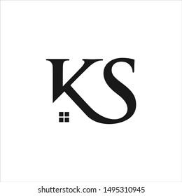 Letter K S Logo. Home Symbol. Icon Vector Eps 10.