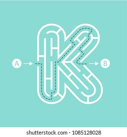 Letter K shape Maze Labyrinth, maze with one way to entrance and one way to exit. Flat design, vector illustration.