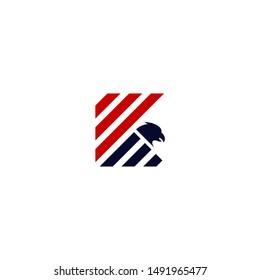 Letter k stripes flag with eagle head symbol logo vector.
