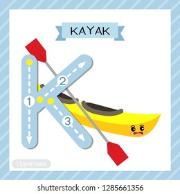 Letter K uppercase cute children colorful transportations ABC alphabet tracing flashcard of Kayak for kids learning English vocabulary and handwriting Vector Illustration.