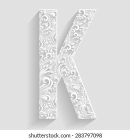 Letter K. Vector Floral Invitation cards Decorative Font
