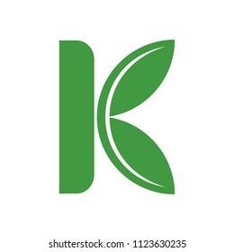 letter K vector logo. Leaf icon.
