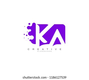 Letter KA Logo Design Vector with Abstract Square Shape Dots