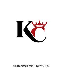 letter KC crown logo icon template