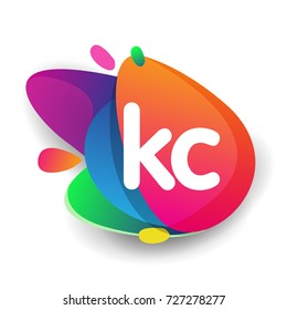 Letter KC logo with colorful splash background, letter combination logo design for creative industry, web, business and company.