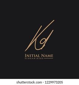 Letter Kd Logo. Initial Letter Design Vector Luxury Colors