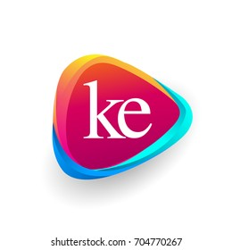 Letter KE logo in triangle shape and colorful background, letter combination logo design for company identity.