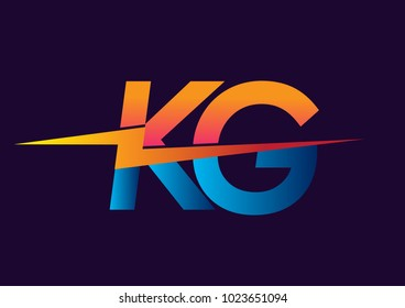 Letter KG logo with Lightning icon, letter combination Power Energy Logo design for Creative Power ideas, web, business and company.