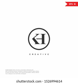 Letter KH, HK luxury Logo icon monogram design. Vector graphic design template element.