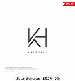 Letter KH, HK simple line Logo icon monogram design. Vector graphic design template element.