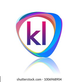 Letter KL logo with colorful splash background, letter combination logo design for creative industry, web, business and company.