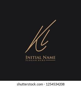 Letter Kl Logo. Initial Letter Design Vector Luxury Colors