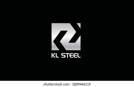 Letter KL Steel Vector Logo Design Inspirations