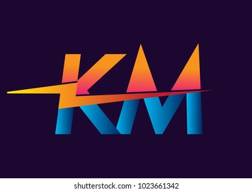 Letter KM logo with Lightning icon, letter combination Power Energy Logo design for Creative Power ideas, web, business and company.