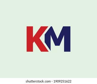 letter km and mk logo design vector template