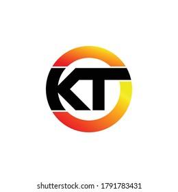 Letter KT circle logo design vector