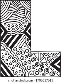 Letter L alphabet symbol - hand drawn, paint, vector illustration