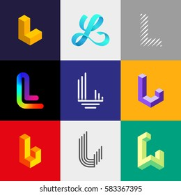 "Letter ""L"" big logo pack. Isometric, minimal, line, colorful, ribbon, geometric, luxury vector monograms. Eps10 format."