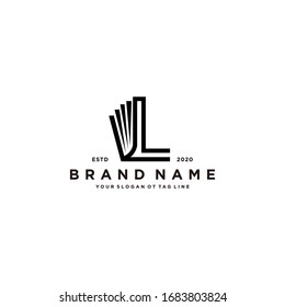 letter L and book logo design vector template