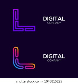 Letter L Colorful logotype with Three Line, Square and Circle shape Maze Labyrinth, Technology and Digital Connection Link concept for your Corporate identity