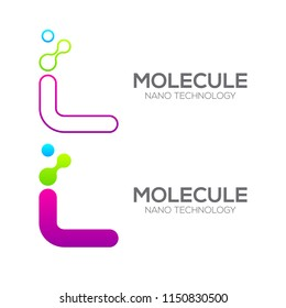 Letter L with Dot and Curve ,Circles shape connected, Molecule and Nano Technology logotype, innovation tech, Medicine, Science, Laboratory, Cosmetics
