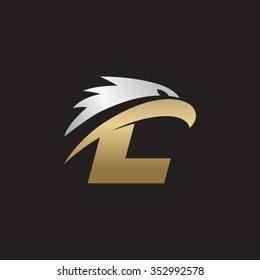 letter L eagle head silver gold logo black background