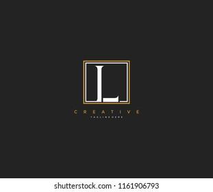 letter L elegant lines square frame hipster logo design