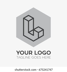 Letter L isometric logo for business or company brand identity