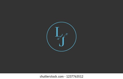 LETTER L AND J FLOWER LOGO WITH CIRCLE FRAME FOR LOGO DESIGN OR ILLUSTRATION USE