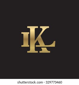 letter L and K monogram golden logo