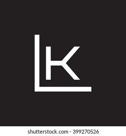 letter L and K monogram logo white black background