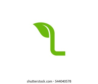 Letter L Leaf Logo Design Template Element