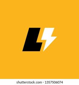 Letter L lightning logo icon design template elements