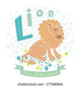 Letter L - Lion. Alphabet with cute animals. Vector illustration.