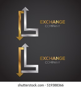 Letter L logo design template Gold and Silver color. Arrow creative sign