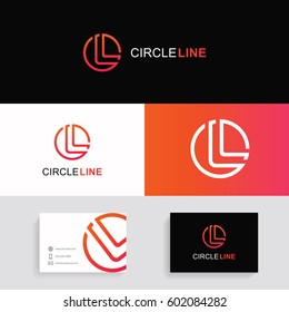Letter L logo icon circle sign vector design with brand business card.