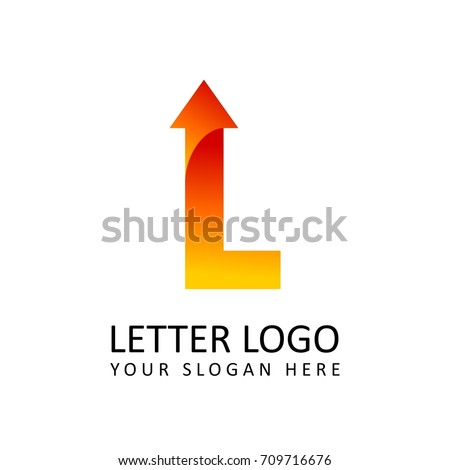 letter l logo template orange round ribbon with arrow head
