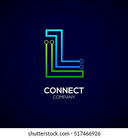 Letter L logotype green and blue color,Technology and digital abstract dot connection vector logo