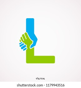 Letter L logotype handshake, abstract logo icon design, ready symbol creative vector sign.