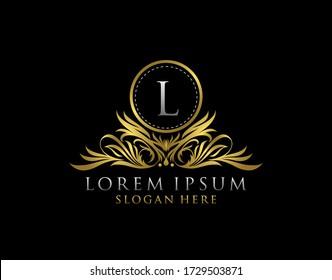 Letter L Luxury Logo. Monogram design elements, graceful template. Calligraphic elegant badge design. Business sign for Royalty, Letter Stamp, Boutique, Cafe, Hotel, Heraldic, Jewelry, Wedding.