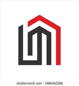Letter L and M. Home icon. Vector logo.