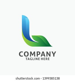 Letter L modern logo design with leaf element