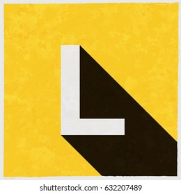 Letter L on retro poster with long shadow. Vintage sign with grunge effects. Vector illustration, easy to edit, manipulate, resize or colorize.